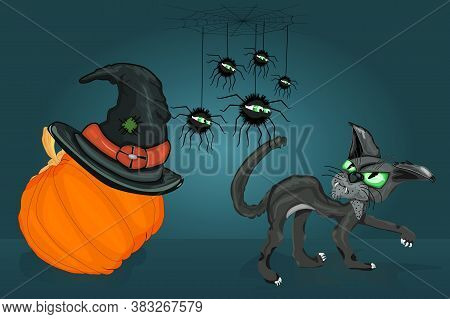 Black Cat And Spiders Look At Each Other. Cat, Spiders, Pumpkin With Witch Hat. Spiders Hanging On T