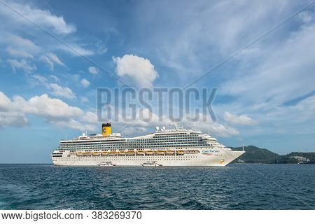 Phuket, Thailand - November 29, 2019: View Of The Cruise Ship Costa Fortuna Anchored In The Patong B