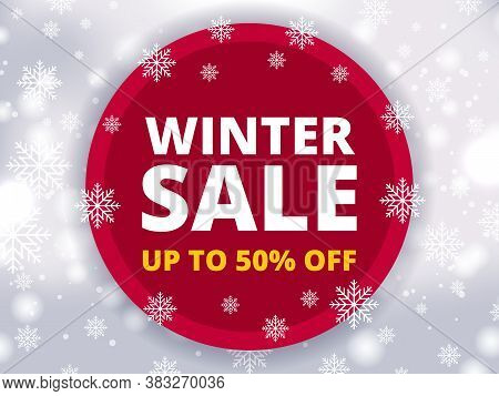 Winter Sale Banner Discount Up To 50% Off. Modern Background For Seasonal Retail Promotion Business,