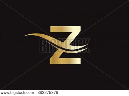 Water Wave Z Logo Vector. Swoosh Letter Z Logo Design For Business And Company Identity. Creative Z