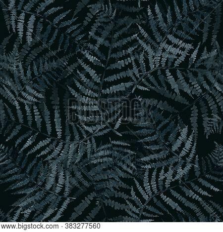 Fern Branch, Indigo Blue Watercolor Hand Drawing, Seamless Pattern,