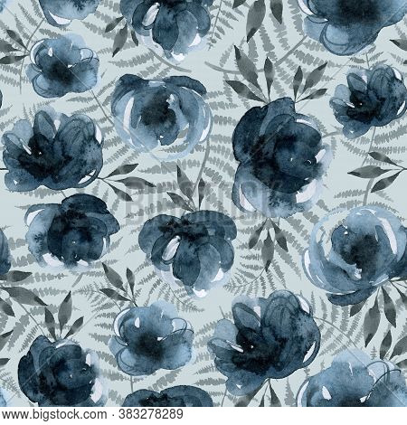 Blue Flowers And Branches, Indigo Plants Seamless Pattern, Watercolor Vintage Hand Drawing