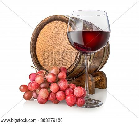 Grape, Cask And Wineglass Isolated On White Background