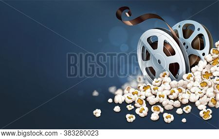 Cinematograpy film-reel discs in popcorn. Online movies retro banner template poster concept, copyspace. Clapper snacks movie theater. Fast food for cinematography entertainment. 3D illustration.