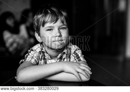 Five year old boy. Black and white portrait.