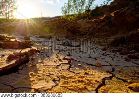A View Of A Natural Mosaic Formed By Cracks In Dry Clay Soil In The Orange Slanting Rays Of The Sett