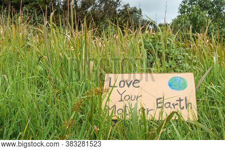 The Nature Conservation Sign On Nature Background. The Concept Of World Environment Day. Zero Waste.