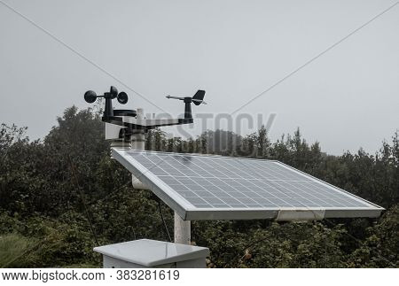 The Meteorological Instrument To Measure The Wind Speed, Temperature And Humidity And Solar Cell Sys