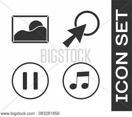 Set Music Note, Tone, Picture Landscape, Pause Button And Arrow Cursor Icon. Vector