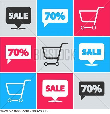 Set Hanging Sign With Sale, Seventy Discount Percent Tag And Shopping Cart Icon. Vector