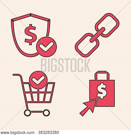 Set Shoping Bag And Dollar, Shield With Dollar, Chain Link And Shopping Cart With Check Mark Icon. V