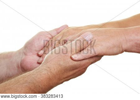 Two hands give support and support to old hands