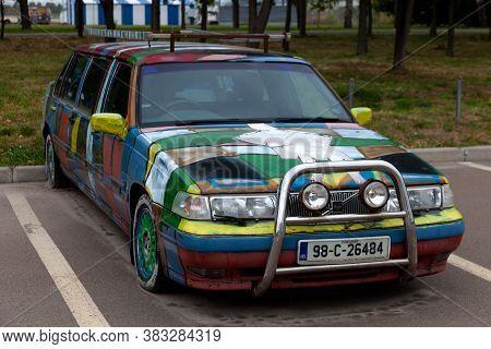 Ukraine, Kyiv - 1 September 2020: Old Car Opel Omega 6-door Limousine. Vintage Lek Transport Thrown