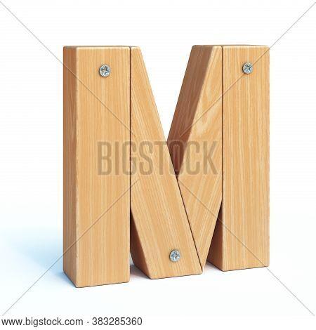 Wood Font, 3d Alphabet Made Of Wooden Parts, 3d Rendering, Letter M