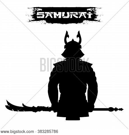 A Silhouette Of A Samurai In A Horned Helmet, Armor, And A Halberd. A Mighty Japanese Warrior. Ronin