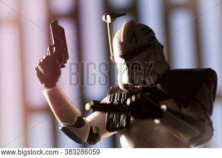 AUGUST 23 2020: Star Wars Clone Wars trooper Captain Rex with blaster drawn - Hasbro action figure