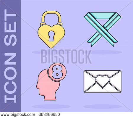 Set Envelope With 8 March, Castle In The Shape Of A Heart, 8 March In Human Head And Breast Cancer A