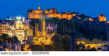 Edinburgh Cityscape from Calton Hill sunset dusk, Edinburgh, Scotland UK