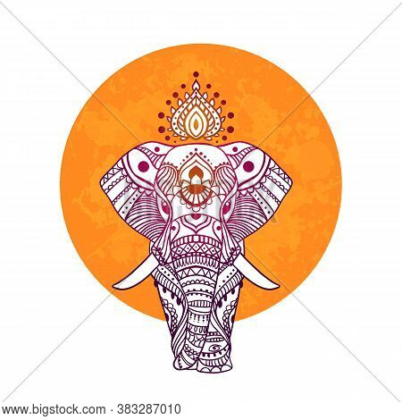 Boho Elephant. Vector Illustration. Floral Design, Hand Drawn Map With Elephant Ornamental.