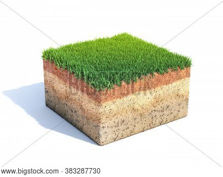 Cubic Cross Section Of Ground With Grass, Ecology, Geology Concept, Soil Sample Isolated On White, 3