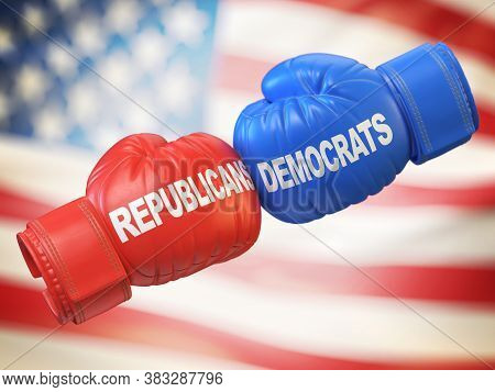 Democrats Vs. Republicans. Two Boxing Gloves Against Each Other In Colors Of Democratic And Republic
