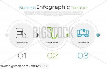 Set Line Barrel Oil Leak, Gasoline Pump Nozzle And Oil Railway Cistern. Business Infographic Templat