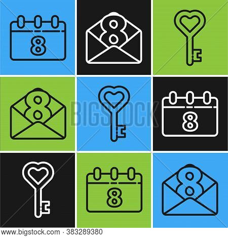 Set Line Calendar With 8 March, Key In Heart Shape And Envelope With 8 March Icon. Vector