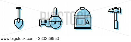 Set Line Paint Bucket, Shovel, Angle Grinder And Claw Hammer Icon. Vector