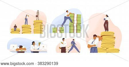 Set Of Rich And Poor People With Different Salary, Income Or Career Growth Unfair Opportunity. Conce