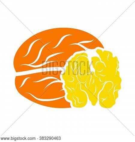 Walnut Icon. Flat Color Design. Vector Illustration.