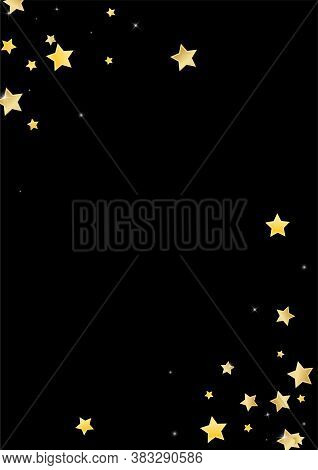 Gold Decoration Stars Vector Black Background. Twinkle Sky Template. Glow Border. Golden Elegant Con