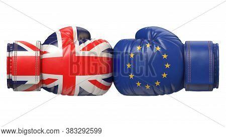 Uk Against Eu Boxing Glove, Britain Vs. European Union International Conflict Or Rivalry, Brexit Con