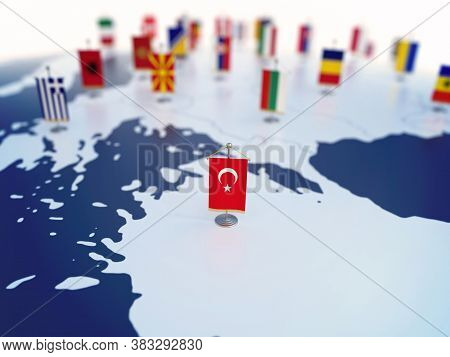 Flag Of Turkey In Focus Among Other European Countries Flags. Europe Marked With Table Flags 3d Rend