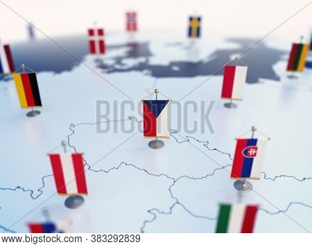 Flag Of Czech Republic In Focus Among Other European Countries Flags. Europe Marked With Table Flags