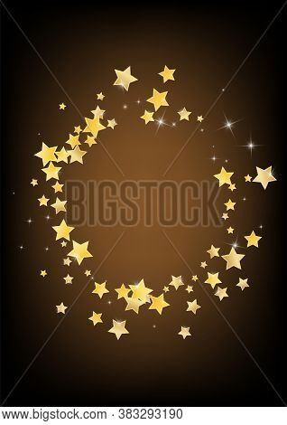 Golden Effect Stars Vector Brown Background. Shiny Sky Wallpaper. Dust Pattern. Gold Twinkle Shine D