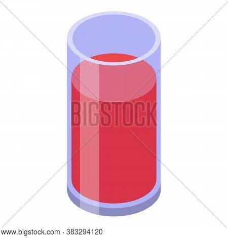 Farm Tomato Juice Glass Icon. Isometric Of Farm Tomato Juice Glass Vector Icon For Web Design Isolat