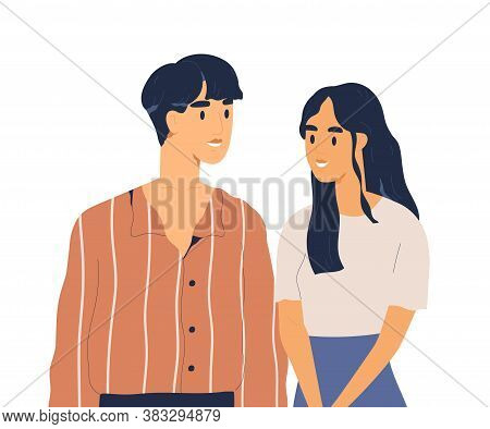 Young Adults Or Teenage People Looking At Each Other. Couple Of Smiling Asian Woman And Man In Love