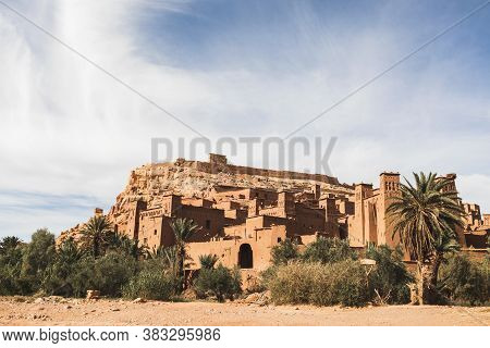 View Of Ait Ben Haddou Ksar In Ouarzazate. Welcome To Morocco. Popular Tourist Landmark And Old Trad