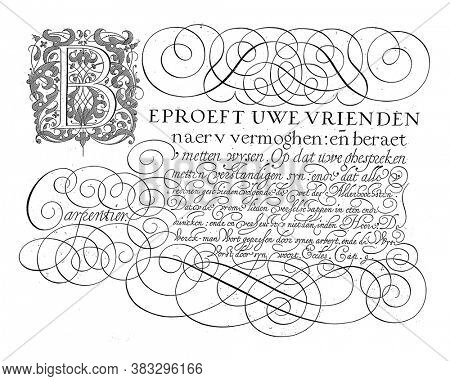 Writing example with the text: Prove your friends (...), Lieven Willemsz. Coppenol, after George de Carpentier, 1618 Writing sample with the text: Test your friends, vintage engraving.