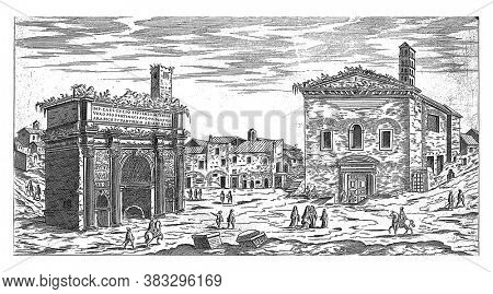 Arch of Septimius Severus at Rome, Etienne Duperac, 1575 View of the Arch of Septimius Severus at the Roman Forum. Right the Curia Julia, vintage engraving.