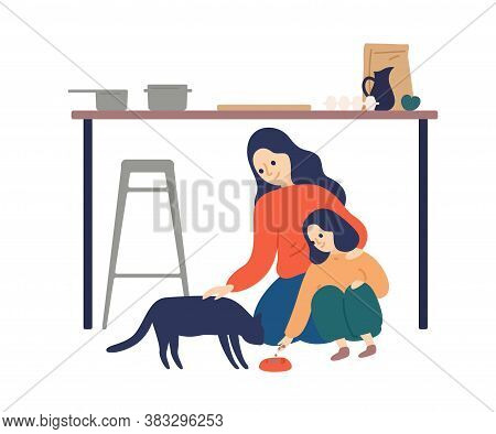 Caring Mother And Cute Daughter Feeding Cat At Kitchen Vector Flat Illustration. Happy Woman Spendin