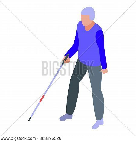 Handicapped Blind Man Icon. Isometric Of Handicapped Blind Man Vector Icon For Web Design Isolated O