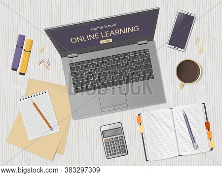 Desktop With Laptop And School Supplies. Online Learning Website Page In Computer Screen. Distance E