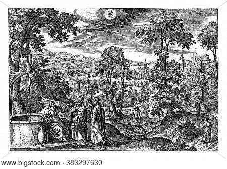 Above center the sign of the zodiac Gemini. In the foreground Christ at the well of Jacob. His students question him about the Samaritan woman who has just left, vintage engraving.