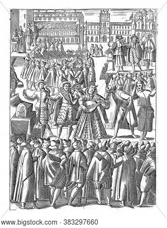 In St. Mark's Square a group of foreigners stands in front of a stage with musicians, vintage engraving.