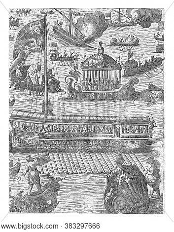 Several ships, including the Bucintoro, the galley of the doge, vintage engraving.