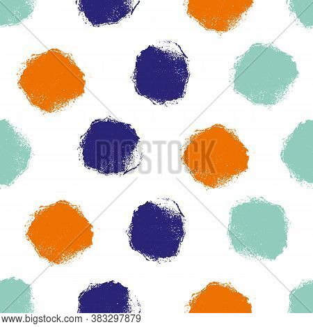 Mono Print Style Circles Seamless Vector Pattern Background. Textured Stamp Effect Indigo, Orange, I