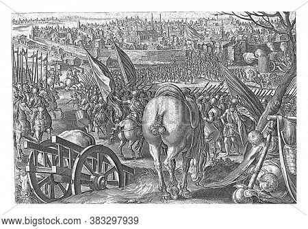 The young Giovanni de 'Medici, nicknamed' dalle Bande Nere ', conquers the city of Milan with the imperial troops (1524), vintage engraving.