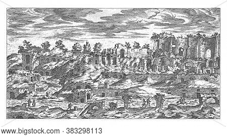 Palatine in Rome, Etienne Duperac, 1575 View of the ruins on the Palatine in Rome, vintage engraving.