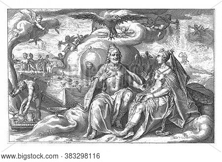 Jupiter and Juno sit side by side, in front of a long table that is just being cleared, and discuss the question of which of the sexes has a greater lust for love, vintage engraving.